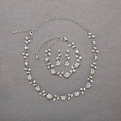 Beautiful Czech Rhinestones Alloy Plated Wedding Necklace And Earrings Jewelry Set