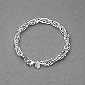 Amazing Silver Plated Dull Polish Rings Chain Unisex Bracelet