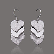 Gorgeous Silver Plate Three Dull Heart Earring