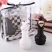 King & Queen Chess Piece Candle Favors(set of 4 boxes)