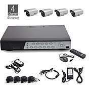 4CH All-in-one CCTV Kit + 4pcs 25M Outdoor Waterproof Camera with Silver Colour + 500GB HDD