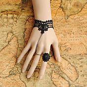 Handmade Black Lace Retro Style Princess Lolita Bracelet with Lace Flower Ring