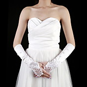 Satin Elbow Length Fingerless Bridal Gloves With Embroidery / Beading