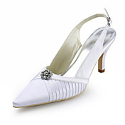 Satin Stiletto Heel Pointy Toe Slingbacks With Rhinestone Wedding Shoes (More Colors)