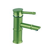 Green Painting Finish Bathroom Sink Faucet - Bamboo Shape Design