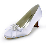 Satin Chunky Heel With Bowknot/ Imitation Pearl/ Rhinestone Wedding Shoes (More Colors)
