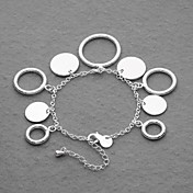 Beautiful Silver Plated Round And Circle Charms Women's Bracelet