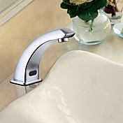 Contemporary Chrome Finish Brass Sensor Bathroom Sink Faucet