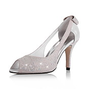 Leather Upper Stiletto Heel Peep Toe With Rhinestone/ Bowknot in Heel Fashion Shoes