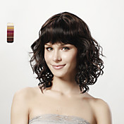 Capless Medium Curly Full Bang Black 100% Human Hair Wig 5 Colors To Choose