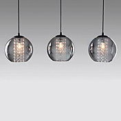 Comtemporary Glass Pendant Lights with 3 Lights Transparent Shades