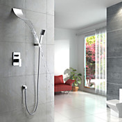 Contemporary Waterfall Shower Faucet with Shower head + Hand Shower (Wall Mount)