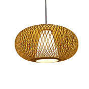 60W Comtemporary Pendant Light with 1 Light in Bamboo Shade
