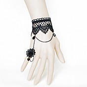 Handmade Black Lace Crown Pendant Princess Lolita Bracelet with Flower Ring