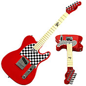 Derulo - Schach Design Telecaster E-Gitarre mit Tasche / Gurt / Picks / Kabel / Stimmpfeife