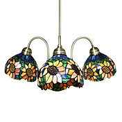 Tiffany Glass Chandeliers with 3 Lights in Flower Design