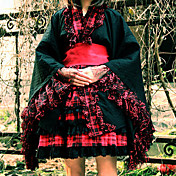 Long Sleeve Knee-length Black Uniform Cloth and Cotton Kimono Wa Lolita Dress