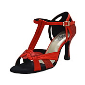 Satin T-Strap Latin / Ballroom Dance Performance Shoes With Buckle (More Colors)