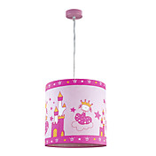 1 Lys Lovely Pink Pendant Light med Castle Bilde