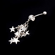 Charming Stainless Steel Crystal Belly Ring With Stars
