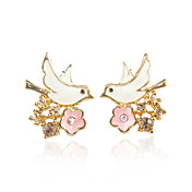 Charming Alloy Bird Shape Stud Earrings with Crystal(More Colors)