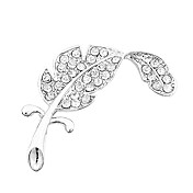 Feather Shaped Silver Brooch With Diamond Mounted
