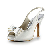 Satin Stiletto Heel Peep Toe / Slingbacks With Bowknot Party/Evening Shoes (More Colors)