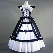 Sleeveless Floor-length Black Cotton Victoria Style Shiro& Kuro Lolita Dress