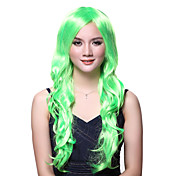 Capless Long Wave Green High Quality Wig