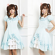 Short Sleeve Knee-length Blue Cotton Country Lolita Dress