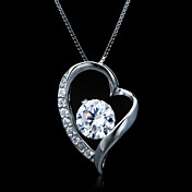 Fine Jewelry Elegant Lots Of Zircon Heart Sterling Silver Necklace
