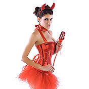 Sequin Red Devil Halloween Sexy Women kostume (4 Pieces)