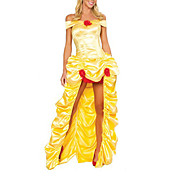 Sexy Adult Woman Deluxe  Beauty  Fairytale Yellow Princess Costume(1Pieces)
