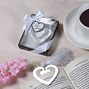 &quot;Love Story&quot; Metal Heart Shaped Bookmark With Tassel Wedding Favor