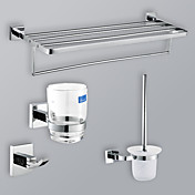 Chrome Finish Bathroom Accessory Set With 24-Inch Towel Rack