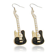Charming Alloy Guitar Design Crystal Drop Earrings