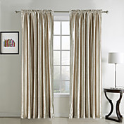 (Two Panels) Classic Solid Beige Velvet Lined Curtains