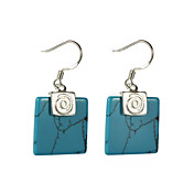 Charming Alloy Square Imitation Gem Stone Drop Earrings
