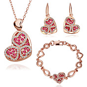 Nice 18K Gold Jewelry Set With Rhinestone Including Necklace,Earring,Bracelet (More Colors)