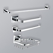 Chrome Finish Bathroom Accessory Set With Toilet Paper Rack And Towel Ring