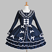 Langærmet Knælang Ink Blue Cotton Aristocrat Lolita Dress