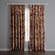 (Two Panels) Brown Floral Print Blackout Curtains