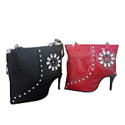 Handmand High-heeled Shoes Style PU Leather Sweet Lolita Handbag with Drill Flower
