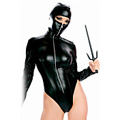 Sexy Black Faux Leather Ninja Costume(1 Pieces)