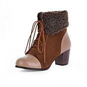 Chunky cuero botas de tacn tobillo con zapatos con cordones fiesta / vestido de noche (ms colores)