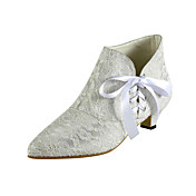 Dentelle / satin Bottes chaton cheville talon avec des chaussures de mariage en dentelle-up (plus de couleurs)