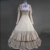 Long Sleeve Floor-length Beige Cotton Gothic Lolita Dress