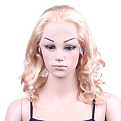 "Nieuwe Lijm-less Cap Met Combs Body Curly 14 ""Blond 100% Indian Remy Lace Wig"