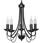 60W E14 5-lys Black Iron Chandelier in Candle Feature