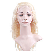 "Nieuwe Lijm-less Cap Met Combs Losse Curly 14 ""Blond 100% Indian Remy Lace Wig"